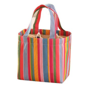 SUKEQ Colourful Stripe Aluminium Foil Lunch Bag Bento Pouch Travel School Tote Handbag
