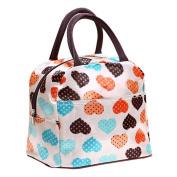 SUKEQ Portable Insulated Zipper Love Print Lunch Bag Tote Cooler Box Storage Picnic Organiser