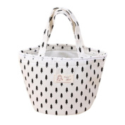 SUKEQ Print Linen Thermal Insulated Lunch Cooler Bag Tote Bento Pouch Lunch Handbag Container