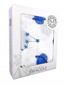 Muslin Swaddle Blankets by Margaux & May - Large lightweight super soft cotton muslin baby blankets 120cm x 120cm - Space design - Ultimate comfort for sound sleep - Ideal baby shower gift