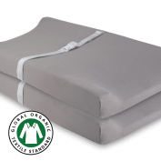 Organic Changing Pad Cover Set , Cradle Sheet 2 Pack 100% Gots Certified Organic Jersey Cotton Solid Grey , by Ely's & Co