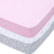 Playard Sheets, 2 Pack Pink Quatrefoil & Grey Floral Fitted Soft Jersey Cotton
