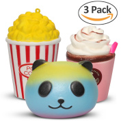 3 packs jumbo squishies slow rising cute panda & pop corn & Red cream scented stress relief toys by Hevout