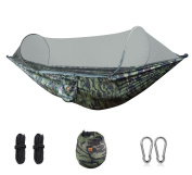 ESOW Camping Hammock with Mosquito Net, Portable Lightweight Multifunctional Hammock with Tree Straps, Carabiners and Storage Bag, 290cm x 140cm 200kg Maximum Weight-bearing in Camouflage Green Colour