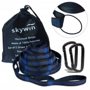 SKYWIN Hammock Straps for Camping Hammock Hanging with Trees, 7.9m Long with 50 Adjustable Loops Versatile for Heavy Duty Stretch Suspend Kit, Max Bearing Up to 320kg , end up with a Rubber Band