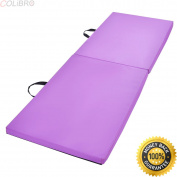 COLIBROX--6'x 0.6mx 1.13cm Gymnastics Mat Thick Two Folding Panel Gym Fitness Exercise Purple. best gymnastics equipment to have at home. best gymnastics mats walmart amazon.soozier mats.
