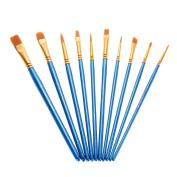 Aibecy 10pcs/pack Artist Paint Brush Kit Set Nylon Hair Round Point Tip for Acrylic Aquarelle Watercolour Oil Painting