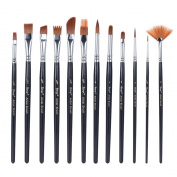 Aibecy 12pcs/Pack Paint Brush Kit Set Round Point Tip Nylon Hair Artist Acrylic Aquarelle Watercolour Oil Painting