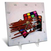 3dRose dc_15780_1 Watercolour Art Set Oil Painting-Desk Clock, 15cm by 15cm