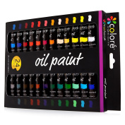 Colore High Quality Oil Paint Set – Perfect For Use On Landscape And Portrait Canvas Paintings – Great For Professional Artists, Students & Beginners - Set Of 24 Richly Pigmented Oil Paint Colours