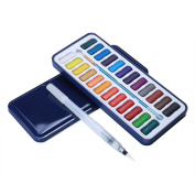 MEEDEN 24 Assorted Colours Watercolour Paints with Tin Case , Painting Pans Set , Include Waterbrush Pen and Watercolour Brush for School Students Kids Artist