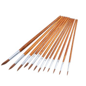 12 Pieces Paint Brushes Set Fine Paint Brush Acrylic Painting Brush for Artist Oil Painting Watercolour, Dark Brown