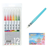 Kuretake Zig Fude Real Brush Set , Clean Colour 12 (RB-6000AT/12V) , Fude Water Brush Pen Medium for Professional Artists and Crafters , Sticky notes