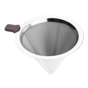 Reusable Coffee Filter Basket Cone Funnel Metal Mesh Filter Tea Brew Dripper Stainless Steel,11.5cm