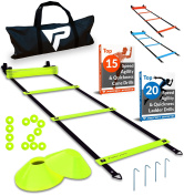 Pro Agility Ladder and Cones - 4.6m Fixed-Rung Speed Ladder with 12 Disc Cones for Soccer, Football, Sports Training - Includes Heavy Duty Carry Bag, 4 Metal Stakes and Top 20 Agility Drills eBook