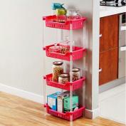 WENZHE Kitchen Storage Rack Corner Tray Shelf Bathroom Floor Type Storage Basket Multifunction Household Products, Rose Red, 4th Floor, 31.1 * 19.2 * 83cm