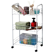 WENZHE Kitchen Rack Corner Tray Shelf Bathroom Living Room Storage Cart With Pulley Multifunction, White, 3 Layers, 37.5 * 25 * 63cm
