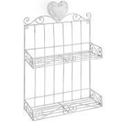 Hill Interiors White Metal Heart Wall Rack (One Size)