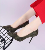 GTVERNH-Fashion Net Cloth Sharp Head High Heel 8.5Cm Shoe Woman Spring And Autumn New Style Shallow Mouth Fine Heel Sexy Night Shop Shoes Thirty-Seven Green