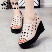 GTVERNH-The New Summer All-Match 7Cm Muffin High-Heeled Sandals Female Thick Hollow Fish Mouth Casual Shoes Thirty-Nine Rice White