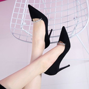 GTVERNH-Korean Version Of Suede Metal Chain Shallow Mouth Pointed Shoes And New Shoes Black All-Match Fine With High-Heeled Shoes 9Cm Thirty-Four Black