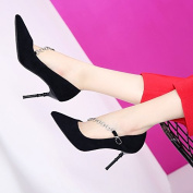 GTVERNH-Fashion Metal Chain A Buckle 8.5Cm High-Heeled Shoes Female With A Fine Tip Shallow Mouth Shoes And New Shoes All-Match Thirty-Six Black