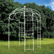 OUTOUR French Style 4-Sided Birdcage Shape Metal Gazebo Pergola Pavilion Arch Arbour Arbour Plants Stand Rack for Outdoor Garden Lawn Backyard Patio, Wedding, Climbing Vines, Roses, Flowers, White