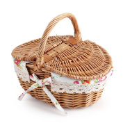 Oval Double Lidded Wicker Picnic Basket Storage Container with Handles and Liner Holiday Camping Use Home Wedding Decoration