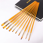 10 Pcs Paint Brush for Acrylic, Oil, Watercolour and Gouache set Art brushes Kit with Long Wooden Handle
