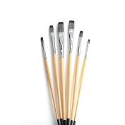 6 Pcs Nylon Paint Brush Set, Flat Tip Artist Acrylic Brushes Fine Paint Brush for Watercolour, Acrylic, Oil Painting Art Supplies