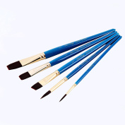 Art Nylon Brushes of 5 pcs with Blue Wooden Handle Paint brushes set for Oil Watercolour & Acrylic Painting Art Painting supplies