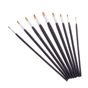 Pointed Tip Artist Paint Nylon Painting Brushes Assorted Size Set of 9pcs