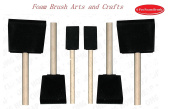Foam Brush Arts and Crafts Set with Wooden Handles, set 6 pcs