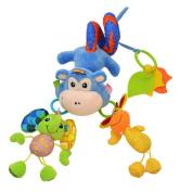 Amazemarket 45cm Kids Baby Puzzle Teether Hanging Toy Activity Spiral Around Wrap Crib Bed Bassinet Stroller Pushchair Rail Pram Developmental Cute Monkey Soft