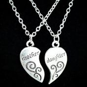 Bodhi2000 2Pcs/Set Mother Daughter Carved Love Heart Pendant Charm Chain Necklace Mother's Day Gifts
