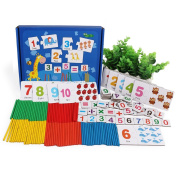 Pizies Educational Toy Wooden Counting Toys Number Cards of Animal Patterns and Wooden Counting Sticks with Box