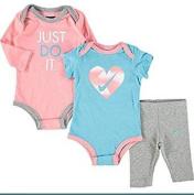 Nike Blue & Pink Three Piece Outfit Set bodysuit & leggings set baby shower Gift Idea SZ 0-3 Months