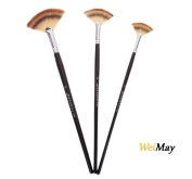 WeiMay Paint Brush Set - Three-Colour Wooden Fan Brush Pen - Art Painting Supplies for Watercolour and Oil Painting, 3pcs
