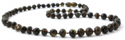 Baltic Amber Necklace for Adults - Size 21.5 inches (55 cm) - Suitable for Women and Men - Polished Dark Green Amber Beads - BoutiqueAmber
