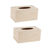 Homyl Pack of 2 Unfinished Wood Facial Tissue Box Cover Napkins Tissue Box Craft