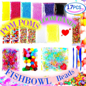 Slime Supplies Foam Beads Making Kit - Pom Poms Fish Bowl Styrofoam Balls Rainbow Loom Fruit Slices 3 Tools Pack Decorative Floral Floam Cloud Crunchy Package DIY Craft Stuff for Girls Boy Kids Adult