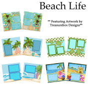 BEACH LIFE Scrapbook Set - 5 Double Page Layouts