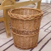 Z & HAO Bamboo woven trash Household storage baskets Rattan storage barrels Rattan woven wastepaper basket Storage box living room , brown