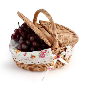Basket Wicker Camping Picnic Basket Shopping Storage Hamper with Lid and Handle Wooden Colour Wicker Picnic Basket