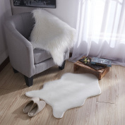 Ottomanson Flokati Collection Faux Sheepskin Short Pile Shag Area Rug, 0.6m X 0.9m, Ivory