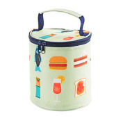 Printed Lunch Bag, SUKEQ Portable Canvas Insulated Thermal Round Bento Bag Picnic Container