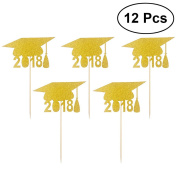 LUOEM Graduation Cap Cupcake Toppers 2018 Cake Toppers Toothpicks Decoration Graduation Party Favours 12pcs