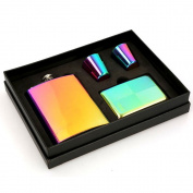 Baffct Rainbow Portable Hip Flask Gift Box Set, Iridescent Stainless steel Colourful Wine Liquor Alcohol Drinkware with Cigarette Case For Women Man Whisky Vodka 2 Shot Cups 180ml