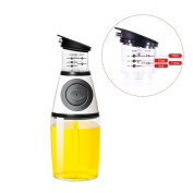 Olive Oil Dispenser, Ounce Glass Bottle for Kitchen with No Drip Pouring Spout that Pumps Measures and Mixes Oils Vinegar and Liquid Ingredients