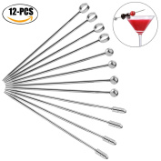 Cocktail Picks, outgeek 12PCS Food Pick Stainless Steel Salad Pick for Fruits Cake